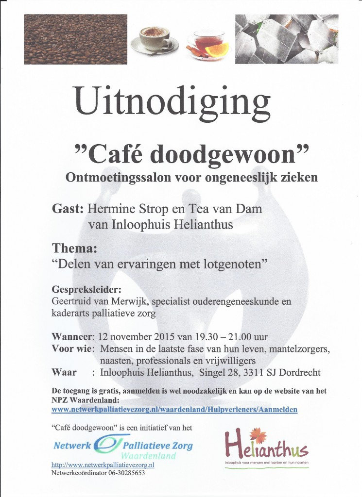 Uitnodiging Cafe Doodgewoon 12 nov. 2015